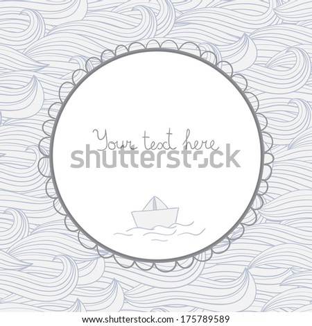 seamless pattern with waves and paper ship. Vector background. - stock vector