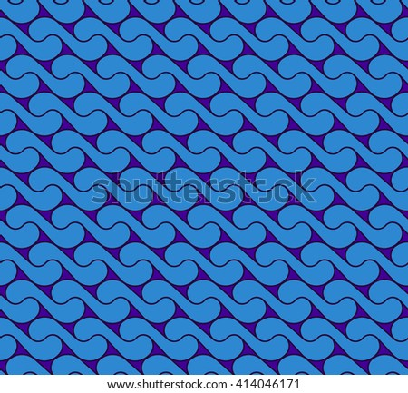 seamless pattern with waves yin yang blue EPS10 - stock vector