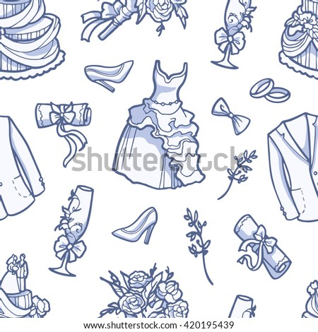Seamless pattern with wedding accessories. - stock vector