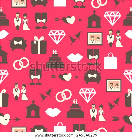 Seamless pattern with wedding equipment.