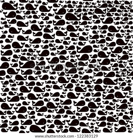 Seamless pattern with whale - stock vector
