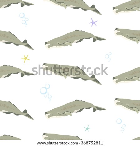 Seamless pattern with whale in the sea / vector flat illustration / sperm whale - stock vector