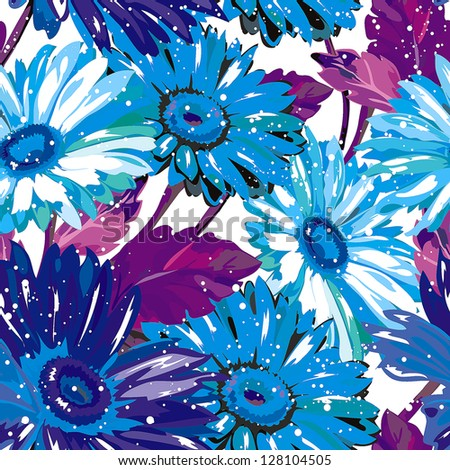 Seamless pattern with White background and beautiful flower design. Elegance color Gerbera, vector illustration - stock vector