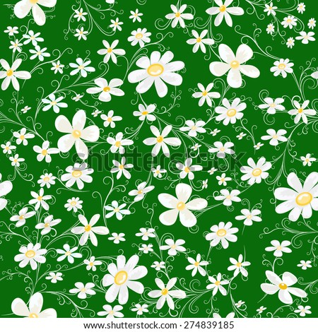 seamless pattern with white daisy on green background, vector illustration - stock vector