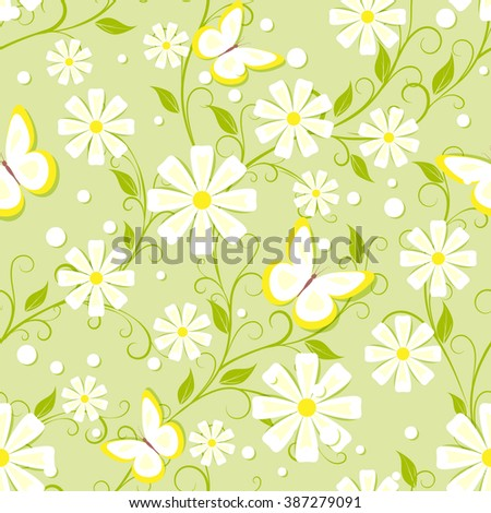 seamless pattern with white flowers, butterfly and different dots in soft green  color, vector illustration - stock vector