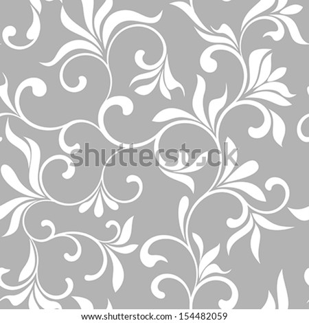 Seamless pattern with white flowers on a gray background  - stock vector