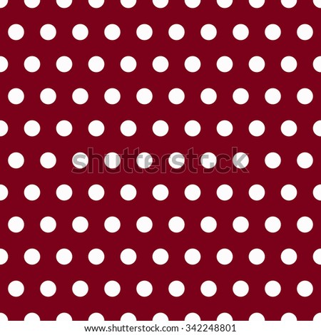 Seamless pattern with white polka dots on red background  - stock vector