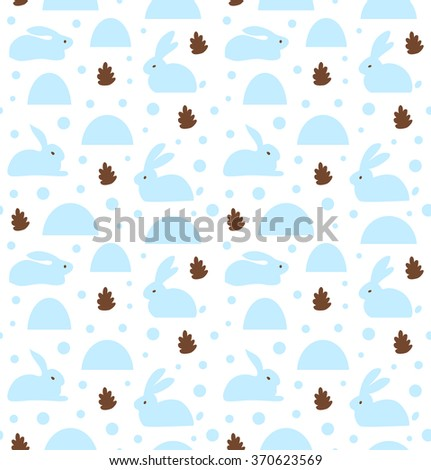 Seamless pattern with white rabbits, banny. Decorative cute baby background - stock vector