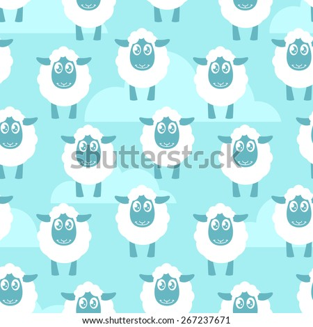 Seamless pattern with white sheep - stock vector
