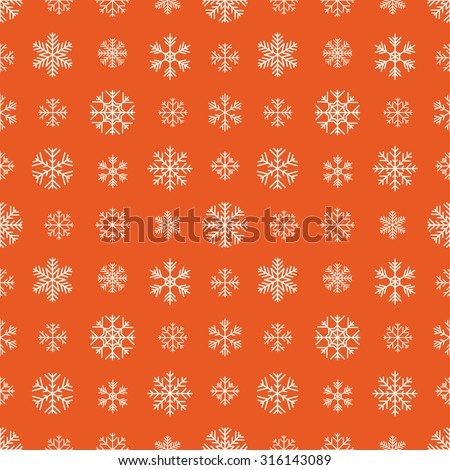 Seamless pattern with white snowflakes against the red background. The layout is fully editable - stock vector