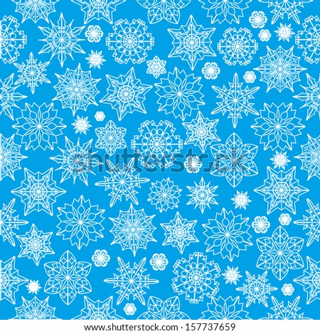 seamless pattern with white snowflakes on a blue background.winter background.vector - stock vector