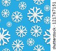 Seamless pattern with white snowflakes on blue - stock vector