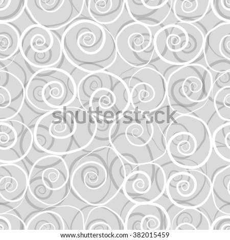 Seamless pattern with white spiral waves on a gray  background.  - stock vector