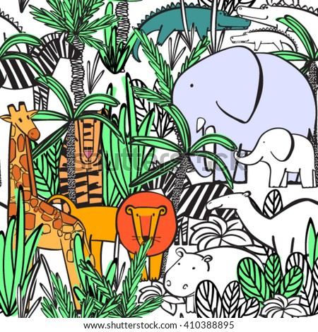 seamless pattern with wild animals of the jungle thickets: elephant with elephant, zebra, camel, tiger, lion, giraffe, crocodile, hippopotamus. Coloring, drawing wallpaper. Vector illustration. - stock vector