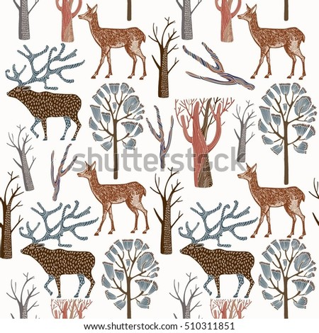 Seamless pattern with wild deers
