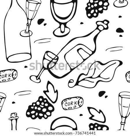 Seamless pattern with wine and cheese