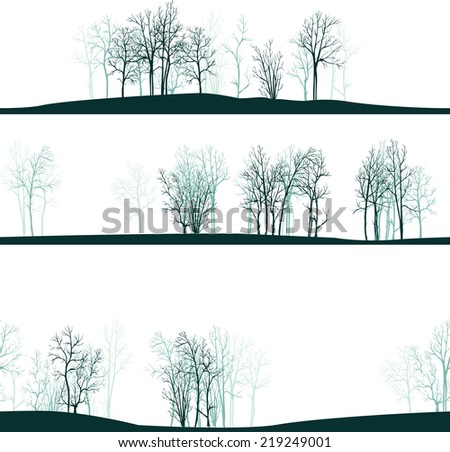 seamless pattern with winter trees, seamless landscapes, hand drawn vector illustration - stock vector