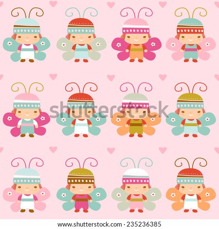 seamless pattern with with children in the suits of butterflies - stock vector