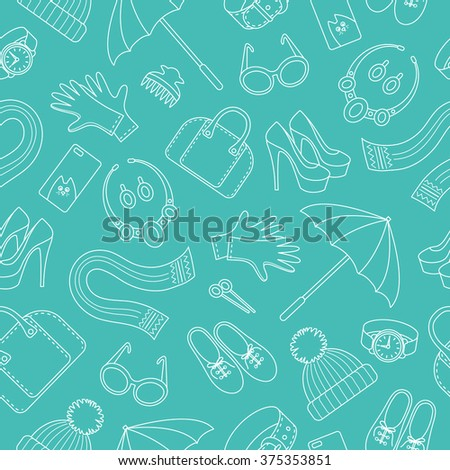 Seamless pattern with women's accessories. Flat vector illustration.