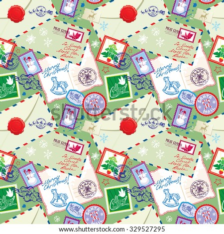 Seamless pattern with xmas stamps, envelops, labels, cards, hand written texts, Christmas and New Year postage background for winter holidays design. - stock vector