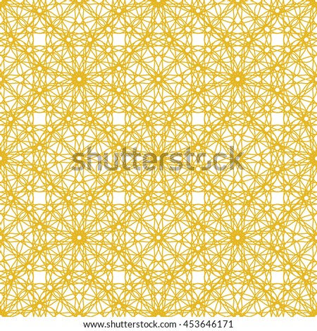 Seamless pattern with yellow abstract ornament isolated on white (transparent) background. Vector illustration eps - stock vector