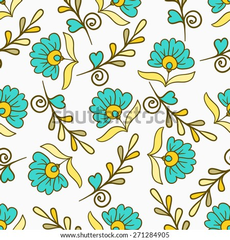 Seamless pattern with yellow and blue modern summer flowers. Vector endless floral texture. Seamless template can be used for wallpaper, pattern fills, textile, fabric, wrapping, backdrop for design - stock vector