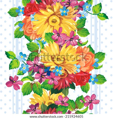 Seamless pattern with yellow and orange gerbera flowers - stock vector