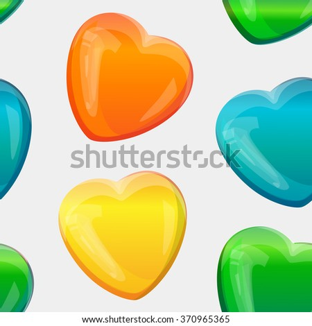 Seamless pattern with yellow, blue and green 3D hearts