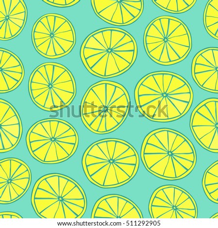 Seamless pattern with yellow lemon slices on green background.