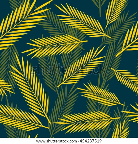 Seamless pattern with yellow palm leaves