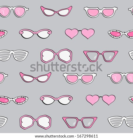 Seamless pattern, Women fashion isolated sunglasses vector set, Template frame design for card, fashion theme