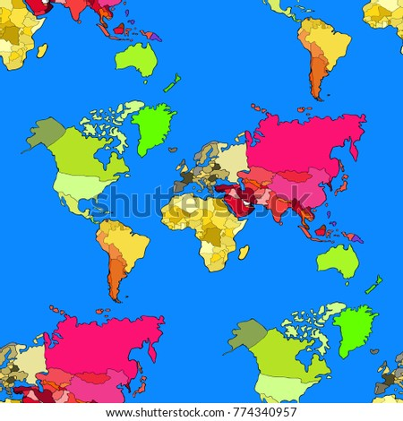 Seamless Pattern World Map Continents Countries Stock Vector - Continents and countries