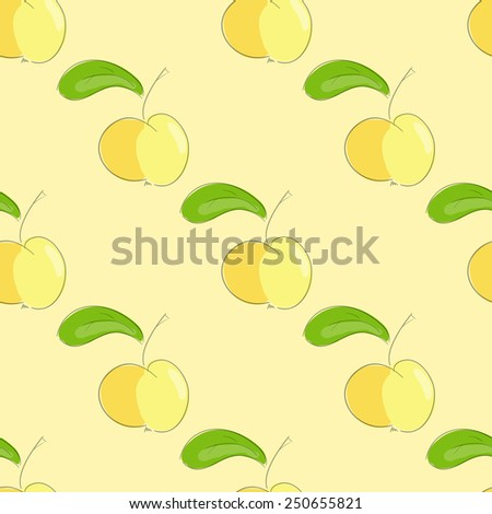 seamless pattern yellow apple with green leaf. vector  illustration. vector wallpaper. design element. - stock vector