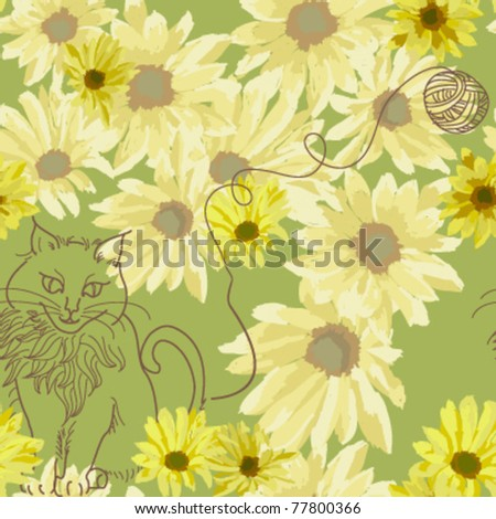 seamless pattern yellow daisy and a cat with the String ball on green background, vector - stock vector