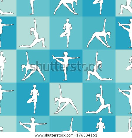 Seamless pattern. Yoga poses as seamless background. Background with women in blue color.  Blue seamless background with girls in yoga poses. Yoga background. - stock vector