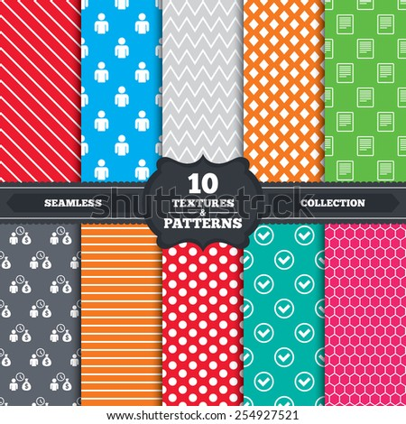 Seamless patterns and textures. Bank loans icons. Cash money bag symbol. Apply for credit sign. Check or Tick mark. Endless backgrounds with circles, lines and geometric elements. Vector - stock vector