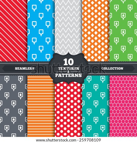 Seamless patterns and textures. Map square pointer icons. Home, food and user location symbols. Restaurant and cupcake signs. You are here. Endless backgrounds with circles, lines. Vector - stock vector