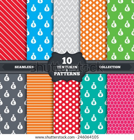Seamless patterns and textures. Money bag icons. Dollar, Euro, Pound and Yen symbols. USD, EUR, GBP and JPY currency signs. Endless backgrounds with circles, lines and geometric elements. Vector - stock vector