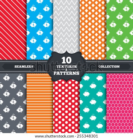 Seamless patterns and textures. Piggy bank icons. Dollar, Euro and Pound moneybox signs. Cash coin money symbols. Endless backgrounds with circles, lines and geometric elements. Vector - stock vector