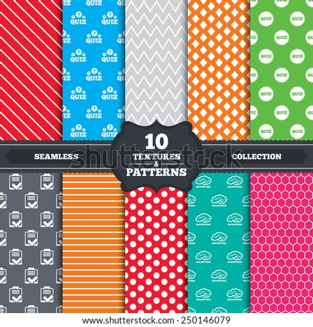 Seamless patterns and textures. Quiz icons. Brainstorm or human think. Checklist symbol. Survey poll or questionnaire feedback form. Questions and answers game sign. Endless backgrounds with circles. - stock vector