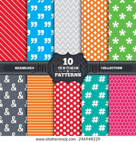Seamless patterns and textures. Quote, asterisk footnote icons. Hashtag social media and ampersand symbols. Programming logical operator AND sign. Endless backgrounds with circles, lines. Vector - stock vector