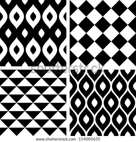 Seamless patterns black and white - stock vector