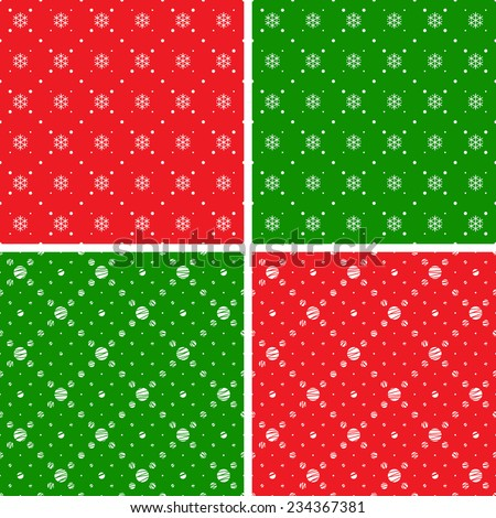 Seamless patterns. Christmas ornaments with snowflake and dotted rhombuses. Holiday backgrounds - stock vector