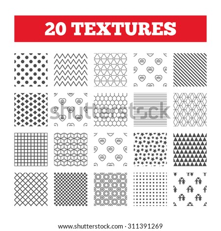 Seamless patterns. Endless textures. Valentine day love icons. Best girlfriend and boyfriend symbol. Couple lovers sign. Geometric tiles, rhombus. Vector - stock vector