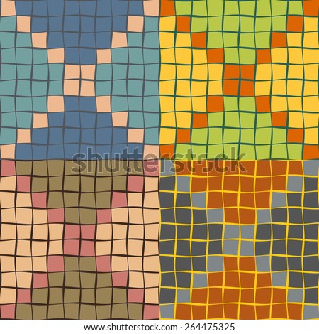 Seamless patterns from a set of colored squares with wavy sides of different thickness