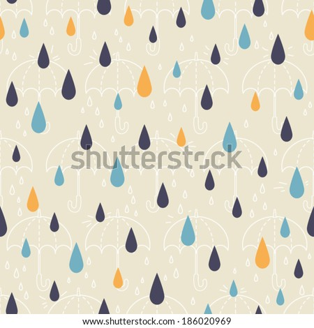 Seamless patterns of drops and umbrellas. Kid's elements for scrap-booking. Childish background. Hand drawn vector illustration. - stock vector
