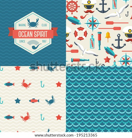 Seamless patterns of marine symbols and label. Use to create quilting patches or seamless backgrounds for various craft projects.  - stock vector