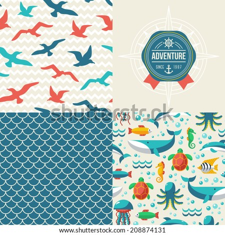 Seamless patterns of marine symbols and label. Use to create quilting patches or seamless backgrounds for various craft projects. Turtle, dolphin, octopus, whale, seagulls. - stock vector