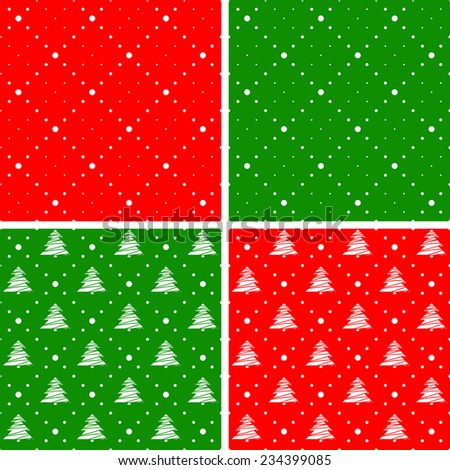 Seamless patterns. Ornament with Christmas trees and dotted rhombuses. Holiday backgrounds. - stock vector