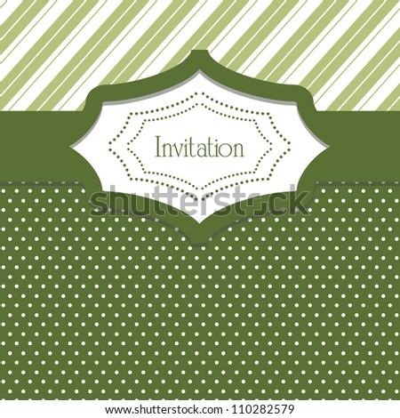 Seamless patterns. Polka dot and diagonal stripe. Stylish invitation card - stock vector